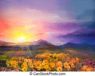 Oil painting yellow- golden daisy flowers in fields. Закатный луговой пейзаж с полевыми цветами, холмом и небом на оранжевом и сине-фиолетовом фоне. Hand Paint summer floral Impressionist style