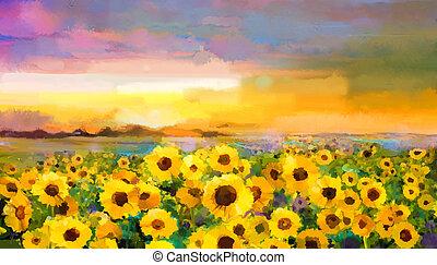 Oil painting yellow- golden Sunflower, Daisy flowers in fields. Закатный луговой пейзаж с полевыми цветами, холмом и небом на оранжевом, сине-фиолетовом фоне. Ручная роспись летнего цветочного импрессионистского стиля