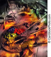 Oil paints and artist pallet