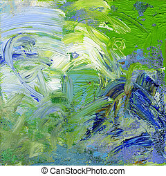 oil paints on canvas - blue, green and white oil paint on...
