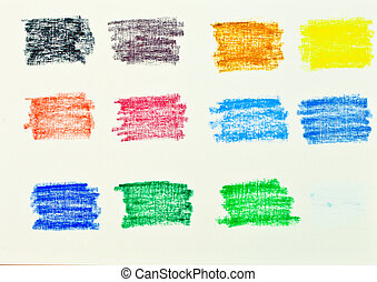 Selection of colors in oil pastel on textured canvas card