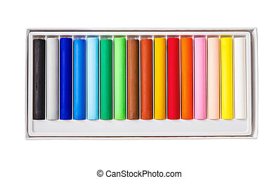 Oil pastels color in box isolated on white background.