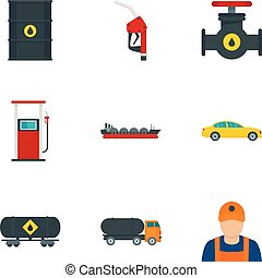 Oil petrol icon set, flat style