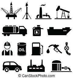 Oil, petroleum and gasoline icons - Oil, fuel, petroleum and...