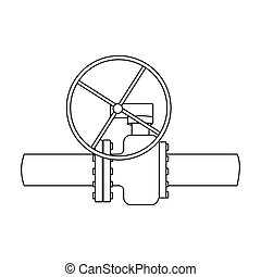 Oil pipe with valve icon in outline style isolated on white background. Oil industry symbol stock bitmap, rastr illustration.
