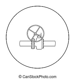 Oil pipe with valve icon in outline style isolated on white background. Oil industry symbol stock vector illustration.