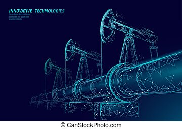 Oil pipeline low poly business concept. Finance economy...