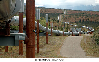 The Trans-Alaska oil pipeline zig-zags across the tundra north of the Alaska Range.