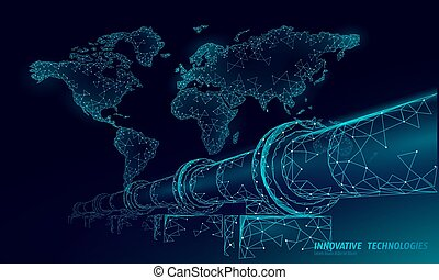 Oil pipeline world map business concept. Finance economy...