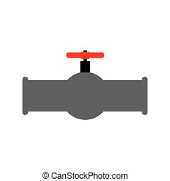 Oil piping and red valve. Water tap and tube.