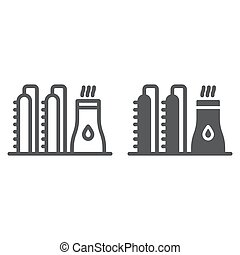 Oil plant line and glyph icon, industy and refinery, power factory sign, vector graphics, a linear pattern on a white background.