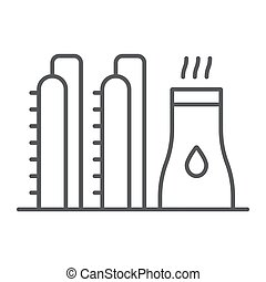 Oil plant thin line icon, industy and refinery, power factory sign, vector graphics, a linear pattern on a white background.