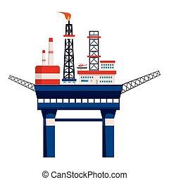 Oil platform at sea icon, cartoon style