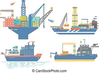 Oil platform, drillship, oil and gas barge, icebreaker vector illustration, oil offshore industry.