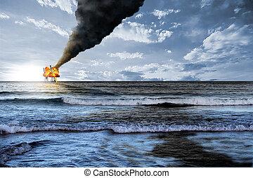 Oil platform explosion - Oil platform accident and black...