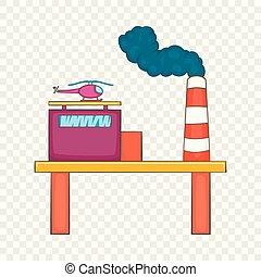 Oil platform icon, cartoon style