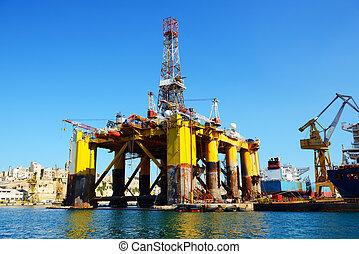 Oil platform in repair in the Industrial dock of Malta