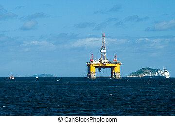 Oil platform in the Guanabara Bay - Oil platform in...