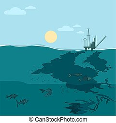Oil platform in the ocean. Water pollution. - Oil platform...