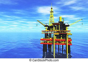 Oil Platform in the Sea 3D render