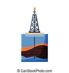Oil Platform in the Sea, Drilling Rig Pumping Oil out of Borehole Flat Style Vector Illustration on White Background