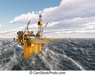 Oil platform in the stormy ocean - Computer generated 3D ...