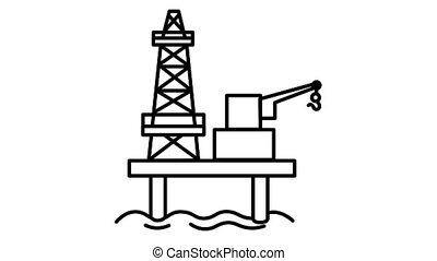 Oil Platform line icon on the Alpha Channel - Oil Platform ...