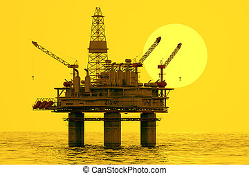 Image of oil platform during sunset. Oil platform on sea is offshore structure with facilities to drill wells, extract and process oil and natural gas and temporarily store produced goods until it can be brought to the shore for refining.