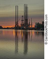 Oil Platform - Drilling rig in repair in shipyard Gdansk.