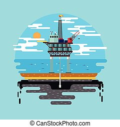 Vector flat illustration. Drilling rig at sea. Oil platform, gas fuel, industry offshore, drill technology.