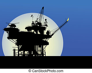 Oil platform - Silhouette of an oil platform in the moon...
