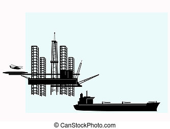 Silhouette of offshore oil platforms and tankers.