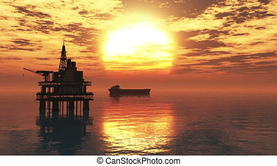 Oil Platform Tanker 1 - Oil Platform and Tanker in the...