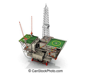 Oil platform with helipad on white background