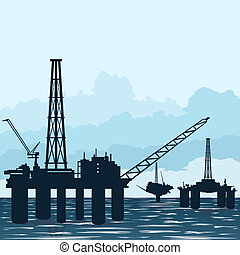 Oil platforms at sea