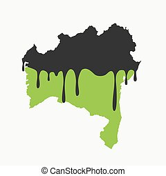 Oil pollution in Bahia - Map of Bahia being fueled by oil. ...