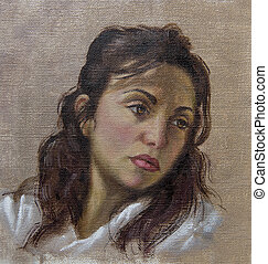 oil portrait of a young woman with her hair down