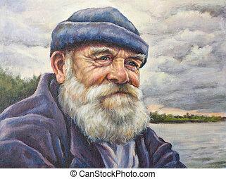 oil portrait of senior man with his cap