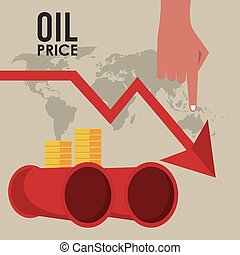oil price infographic with barrels and arrow down