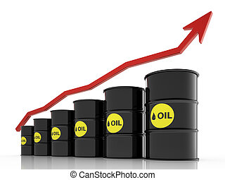 oil price rise concept - 3d render of oil price rise...