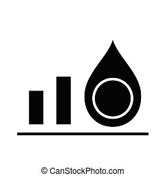 Oil price trends black icon, concept illustration, vector flat symbol, glyph sign.