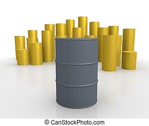 Oil prices - Oil barrel against rising gold bars