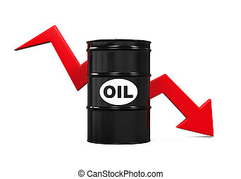 Oil Prices Dropping Illustration isolated on white background. 3D render