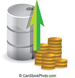 oil prices increasing illustration design