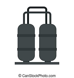 Oil processing factory icon, flat style
