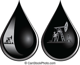 Oil-producing pumps in a drop of oil. Vector illustration.