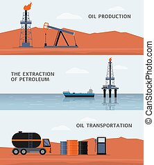 Oil production and petroleum extraction banners set, flat vector illustration.