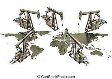 Oil production concept. Crude oil spilled in the shape of Earth map with pumpjacks, 3D rendering