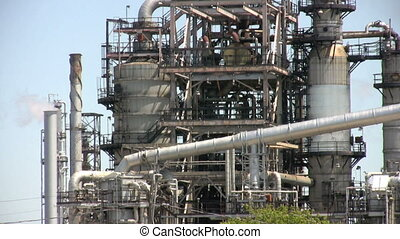 oil production - footage of close up of oil refinery