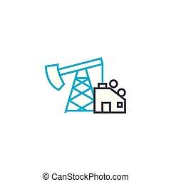 Oil production linear icon concept. Oil production line vector sign, symbol, illustration.